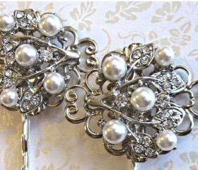 Wedding Hair Pins- Ivory Pearl Hair Accessories- Bridal Hair Pieces, Pearls and Crystal, Ivy Rose Collection