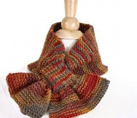 Knit scarf - Scarflette keyhole scarf orange brown warm winter