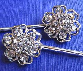 Wedding Hair Pins- Garden Wedding- Crystal Flower Hair Pins, Blooming Collection, Set of 2, Bridal Accessories