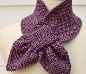 Knit scarf - keyhole scarf scarflette purple winter