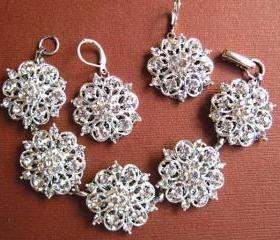 Wedding Jewelry Set, Bracelet and earrings, Silver, Crystal, Bridal Jewelry