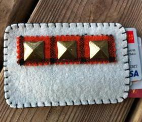 Grey Wool Felt Studded Card / Pill pack sleeve