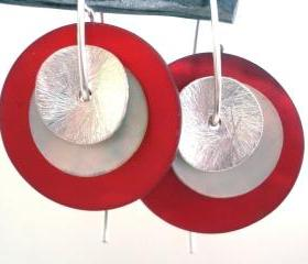 mother of pearl and sterling silver earrings DOUBLE EARRINGS red and white
