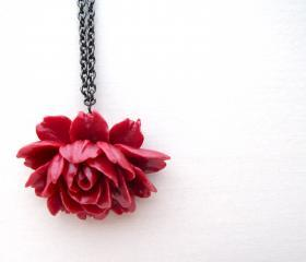 Antique Rose Pendant. Bridesmaid jewelry. Choose Color. Red pink