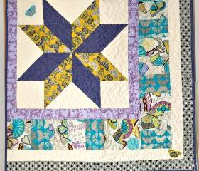 Quilt - Baby Cot Quilt - Yellow Turquiose Purple Patchwork - Girl on the Wing