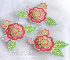 Poppies 3D Collection Flowers (set of 3) Dimensional Embellishments by The Leaf Studio. FREE shipping