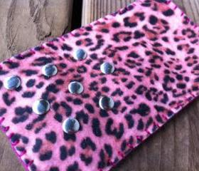 Felt Pink Cheetah Iphone 5 Case with Silver Studs