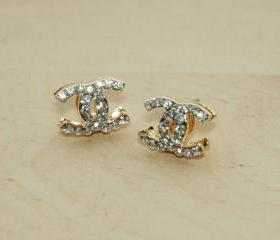 Dazzling Gold Plated White Rhinestone Earrings