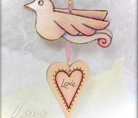Wood Love Bird - pyrographed and crafted with Love