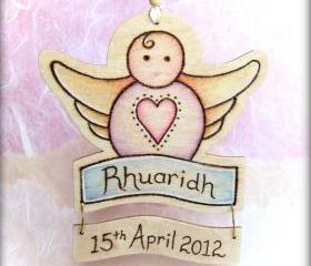 Sweet Cherub - wooden delight - personalised with name and date