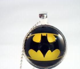 Batman logo glass pendant necklace