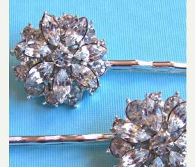 "Wedding Hair Pins, Bridal Accessories, Crystal Hair Pins,""Crystal Bouquet"" Collection"