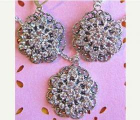 "Bridesmaid Jewelry, Necklace and Earring Sets,""Floral Ice"" Bridal Jewelry"