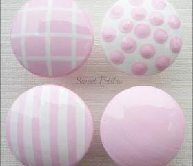 Hand Painted Knob Dresser Drawer Stripes and Polka Dots Baby Pink and White