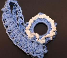 Baby Blue Lace Scrunchie/Headband Hair Accessories Set