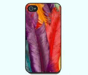 Colorful Feather-- for both iphone 4 case,iphone 5 case, personalied iphone case in hard plastic