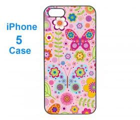 Iphone 5 case,iphone 4 case--Flower, durable plastic case in black or white