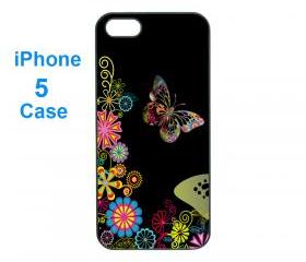 Iphone 5 case,iphone 4 case--flower and butterfly, durable plastic case in black or white