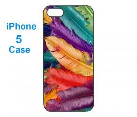 Iphone 5 case,iphone 4 case--Colorful feather, durable plastic case in black or white