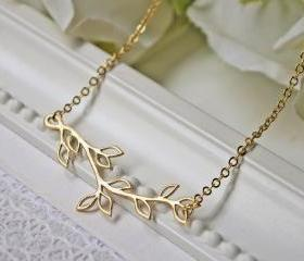 Matte Gold Branch Necklace. Simple. Minimalist. Modern