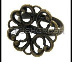  10pcs Antique Brass Filigree Pad Adjustable Ring Blank Jewelry C69