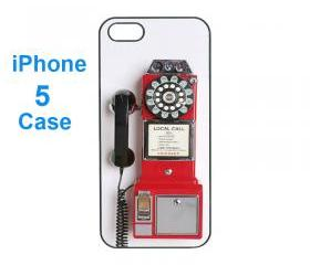 Iphone 5 case,iphone 4 case--Vintage red payphone, durable plastic case in black or white