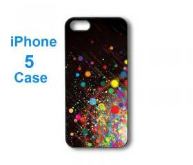 Iphone 5 case,iphone 4 case--colorful spots, durable plastic case in black or white