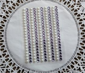 200 - 4mm self adhesive Shabby Chic Bling and Pearls - Lavender