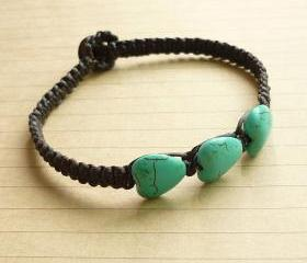 My Blue Heart - Heart Blue Howlite Turquoise with Black Wax Cord Bracelet/Bangle