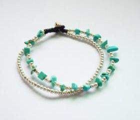 Double Strands of Turquoise Blue Chip Beads and Silver Plated Beads with Wax Cord Bracelet