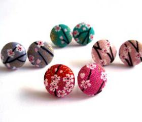 Button earrings -Japan kimono fabric (Auspicious Red, Healthy Pink, Wealthy Green and Lovely Grey)