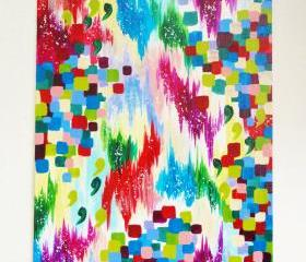 CHRISTMAS Season Original Abstract Acrylic Painting, FREE SHIPPING, Bold Winter Xmas Holidays Colorful Ikat Home Decor Fine Art