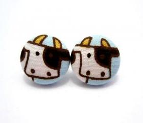 Button earrings -Cow Earrings 