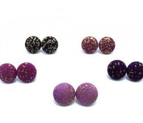 Button earrings -The Galaxy Of Colours