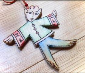 Wood Elf - pyrographed hanging decoration - Christmas