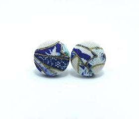 Button earrings -Japan Blue Oriental Kimono On White