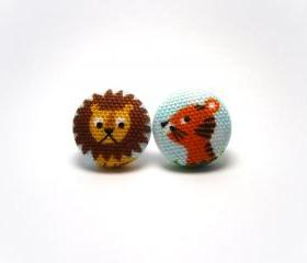 Button earrings -Lion and Tiger Earrings