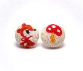 Button earrings -Bambi and Mushrooms