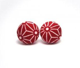 Button earrings -Red Origami
