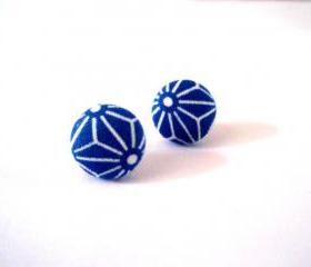 Button earrings -Blue Origami