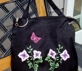 Canvas Messenger Bag with Painted Flowers and Butterfly Charm