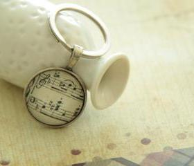 Nostalgia Melody Music Sheet Notes Round Glass Keychain Necklace