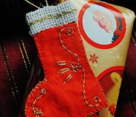 Hand Embroided Christmas Stocking Ornament - A Set of 4