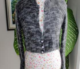 Charcoal/ Marbled Grey Ready to ship HANDMADE Kate Middleton Angora Bridal Bolero hand knitted with handspun angora/ fit size SMALL