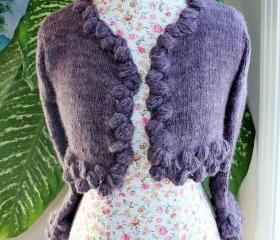Dusky Mauve Crochet with Walnut Stitch / Ready to ship Handmade knitted BOLERO with handspun angora yarn/ fit size SMALL