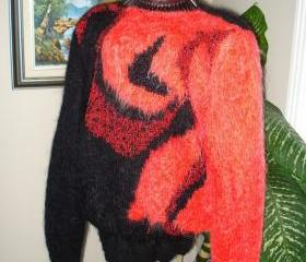 Ready to be shipped/ Black and Red Hot Days Sweater- Handmade- Knitted- Wool /Size LARGE