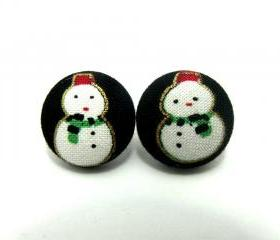 Medium Button earrings -Frosty The Snowman