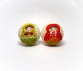 Button earrings -Cute Russian Dolls