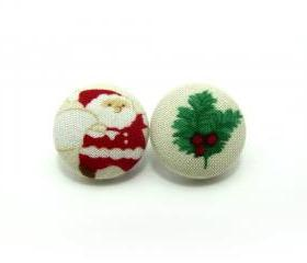 Button earrings -Santa Claus Earrings