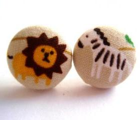 Button earrings - Inspired by Madagascar Lion and Zebra